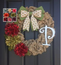 This wreath is made up of 60 feet of quality natural burlap and it is adorned by three dahlia flowers in red and sage green. The colors and shape of these flowers make them beautiful as well as unique. The wreath measures approximately 22 wide and 5 deep. This can be made up of many