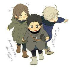 Daichi, Sugawara, Asahi | Haikyuu!! | sleldldk they're so cute!!!