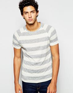 "Striped T-shirt by Selected Homme Soft-touch jersey Crew neck Raglan sleeves Regular fit - true to size Machine wash 85% Polyester, 15% Linen Our model wears a size Medium and is 189cm/6'2.5"" tall"