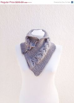 ON SALE SCARF Grey  neckwarmers with buttonChunky  by NesrinArt, $22.10