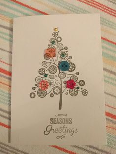 Stamped Christmas tree with button and liquid pearl embellishments