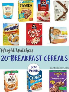 Wanting Low Point Cereals on Weight Watchers plan. These 20 Low Smart Point Breakfast Cereals are under 4 Smart Points on Weight Watchers Freestyle plan. Weight Watchers Snacks, Weight Watchers Tipps, Weight Watchers Program, Weight Watchers Breakfast, Weight Watchers Smart Points, Weight Watchers Chicken, All Bran, Lose Weight, Weight Loss