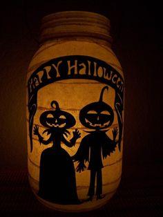 Primitive Halloween Pumpkin Couple Lantern via Etsy