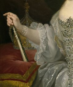 Portrait of Maria Amalia of Saxony as Queen of Naples overlooking the Neapolitan crown, Giuseppe Bonito, c. 1745 (detail)