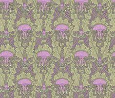 Art Nouveau Thistle Mauve fabric by chantal_pare on Spoonflower - custom fabric
