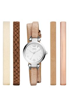 Fossil 'Georgia' Round Watch & Interchangeable Strap Set, 26mm available at #Nordstrom