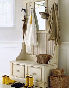 I like the back of this piece for the mud room.  It would be great for the shallow wall behind the door.