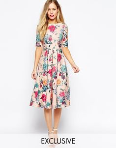 Enlarge Closet Scuba Midi Skater Dress In Floral Print