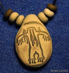 Bigfoot Sasquatch  Hairy Man Rock Art Clay Pendant by SecretCanyon