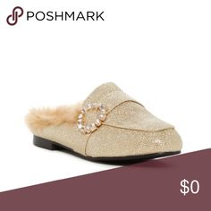COMING SOON! Catherine Catherine Malandrino Mules Catherine Catherine Malandrino Sturning Faux Fur Trim Mule Size: 6.5 (true to size) Available in gold and silver color. Round toe Rhinestone detail buckle  Faux fur trim Imported Materials: Manmade upper, faux fur (polyester) trim, and PU sole NP#SH001 Catherine Malandrino Shoes Mules & Clogs