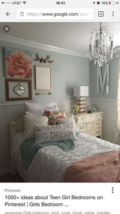 Ideas for a Girls Bedroom Cute Teen Bedroom Ideas Bedroom Decor Girl Dream Gi Teenage Girl Bedrooms Bedroom cute Decor Dream Girl Girls Ideas Teen Teen Girl Bedrooms, Little Girl Rooms, Pink Bedrooms, Vintage Teen Bedrooms, Bedroom Ideas For Teen Girls Grey, My New Room, Room Inspiration, Mint Coral, Coral Blush