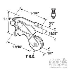 Spring Loaded Roller Assembly with 1 Inch Steel Wheel for Sliding Screen Door
