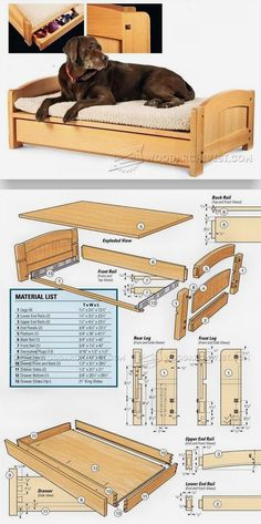 Dog Bed Plans - Woodworking Plans and Projects | WoodArchivist.com #woodworkingprojects #WoodworkPlans