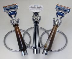 Beautiful Buffalo Horn, Tortoise and Stripped Shaving Handles.  Comes with Mach 5 Razor. Free stainless stand and case. Women's Venus Razor comes with Free Case and stainless stand.  Visit us for all your shaving razors.  bodytoolz.com