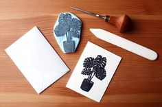 Monstera Deliciosa  Pack of 5  Handcarved & by PaprikaPaperGoods