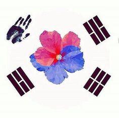 awesome tattoo of korean flag, red flower as japan? Kpop Tattoos, Body Art Tattoos, Tatoos, Korean Flag, Korean Art, Korea Tattoo, Deviantart Drawings, Flag Art, Korean Language