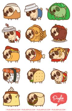 Resultado de imagen de sushi draw Cute Dog Drawing, Cute Drawings, Drawing Stuff, Tumblr Stickers, Cute Stickers, Laptop Stickers, Pugs In Costume, Pug Cartoon, Cute Animal Memes