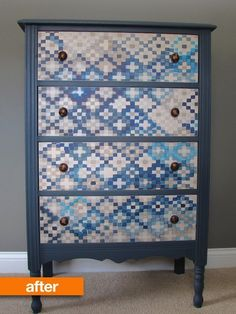 Before & After: A Dusty Dresser Gets Dressed Up With Wallpaper - I love this concept (hate the pattern of the wallpaper but can totally see the potential for something my style).