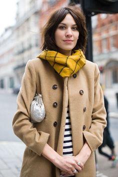 Alexa Chung - coat and scarf