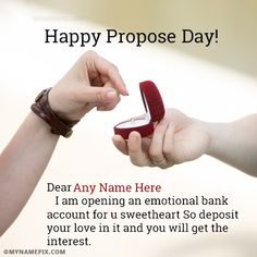 A new and romantic way to wish Propose Day to the loved one. Get Happy Propose Day messages with name of your love. Make feel them extra special. Propose Day Messages, Happy Propose Day Quotes, Propose Day Wishes, Happy Propose Day Image, Propose Day Images, Romantic Ways To Propose, Boyfriend Names, Best Proposals