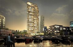 HAUT, the wooden residential building by the Dutch River Amstel, is a serious contender to become the tallest timber tower in the world. The municipality of Amsterdam has selected Team V Architecture with Li. Timber Architecture, Timber Buildings, Sustainable Architecture, Tower Building, Building Design, Green Building, Building Facade, Amsterdam Images, Wooden Skyscraper