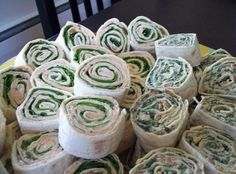 Snail wraps (make with spinach wraps)