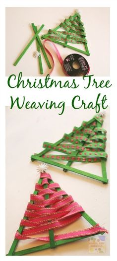 Easy Christmas Tree Ribbon Ornament for All Ages Ribbon Weave Christmas Tree craft great for fine motor skills and makes another cute ornament to put on the tree! How To Make Christmas Tree, Ribbon On Christmas Tree, Preschool Christmas, Noel Christmas, Christmas Activities, Christmas Crafts For Kids, Diy Christmas Ornaments, Homemade Christmas, Simple Christmas
