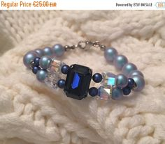 welcome spring swarovski pearl bracelet / beads by CreationsBySLM Pearl Bracelet, Beaded Bracelets, Welcome Spring, Blue Pearl, Swarovski Pearls, Light In The Dark, Fitness Models, Fine Jewelry, Woman Outfits