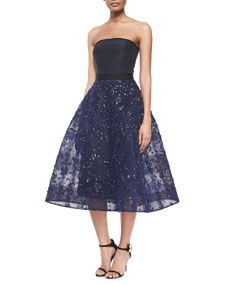 Monique Lhuillier Strapless Bead-Embroidered Fit-And-Flare Cocktail Dress