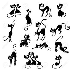 A Lot Of Black Cats In Various Poses. Royalty Free Cliparts ...