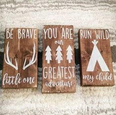 Be brave little one, you are our greatest adventure, run wild my child wooden sign set. Nursery Art on Etsy