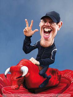 Caricatura de Sebastian Vettel.