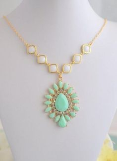 Mint and White Statement Necklace