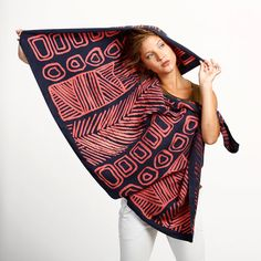 Huge woman shawl hand printed with bold primitive pattern,original design by Dikla Levsky