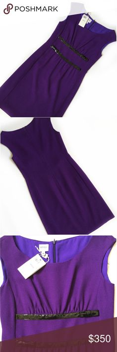 NWT Armani Collezioni wool sheath dress w/ bows Gorgeous NWT Armani Collezioni sheath dress in a saturated purple virgin wool. Originally $1,075.  Very sophisticated and beautiful.  Two black patent stripes with bows on front. Nipped in waist is very slimming. Purchased at Nordstrom and never worn. Armani Collezioni Dresses Mini
