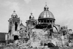 Ruins of the Capuchins' Lourdes Church in Intramuros after the Liberation of Manila, 1945 (Nostalgia Filipinas: Intramuros) Treaty Of Paris, President Of The Philippines, The Spanish American War, Nostalgia, Intramuros, Filipiniana, Manila Philippines, Filipino, World War Ii