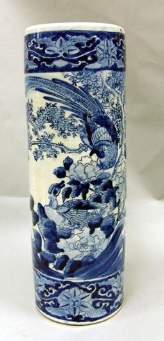 An old Chinese Stoneware Floor vase  I have one the same I use it for Walking Sticks etc  A W