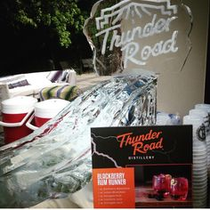 Anyone up for ice luge shots? Thunder Road shine is a great addition to any party. ‪#‎WhiskeyRunnersSpirit‬ ‪#‎ThunderRoad‬ ‪#‎moonshine‬