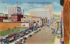 Chattanooga Tennessee TN 1940s Downtown Market Street Vintage Linen Postcard