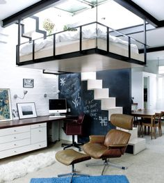 """Good use of space. Loving the suspended bed! """"Suspended bed under a skylight Source """" Home Interior, Interior Architecture, Interior Design, Stylish Interior, Apartment Interior, Interior Ideas, Bedroom Apartment, Contemporary Interior, Apartment Living"""