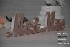 Mr and Mrs Wedding Signs- Wedding Sign- Pale Pink Mr & Mrs Wedding Rose Gold Centerpiece, Gold Centerpieces, Gold Wedding Decorations, Azul Tiffany, Tiffany Blue, Mr And Mrs Wedding, Our Wedding, Wedding Ideas, Wedding Colors