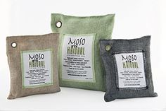 Moso Natural air-purifying bags absorb and filter out odors, harmful pollutants, allergens and bacteria while dehumidifying to prevent mildew, mold, and moisture. Made from 100% bamboo charcoal, Moso Bags are non-toxic, eco-friendly air purifiers which work to remove impurities in the air while remaining fragrance-free, unlike many air freshening sprays that attempt to mask odors by covering them up with other scents.  Get yours at MosoNatural.com today!