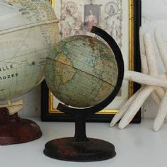 I want to put an old globe like this on a floating shelf in my living room