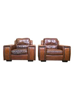 Large Pair of Vintage French Leather Club Chairs