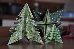 beautiful origami xmas trees