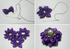 How to make a flowers & rosettes. How To Make A Flower From Ribbon - Step 2
