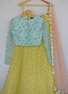 Lemon Mirror & Pearl Lehenga Set With Pale Turquoise Blue Blouse & Blush Pink Abla Dupatta-Anisha Shetty-Fabilicious Fashion Indian Designer Outfits, Indian Outfits, Designer Dresses, Indian Attire, Indian Wear, Bridal Mehndi Dresses, Indian Gowns Dresses, Wedding Outfits, Pakistani Dresses