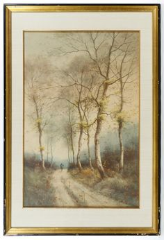 Lot 577: George Ernest Colby (American, 1859-1922) Watercolor on Paper; Undated, signed lower left, depicting a hunter walking down road with white birch trees in autumn