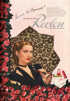 Revlon, 1944...sure takes a lot of work to get hair in a perfect French roll like that...so wartime...love it...!