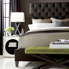 Bernhardt Interiors. Porter Upholstered Bed in dark espresso. Bolton Nightstand. Harlow Bench. Available through HighStreet.